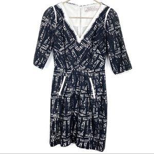 Lela Rose Black Lace Fit Flare Dress V Neck Size 4